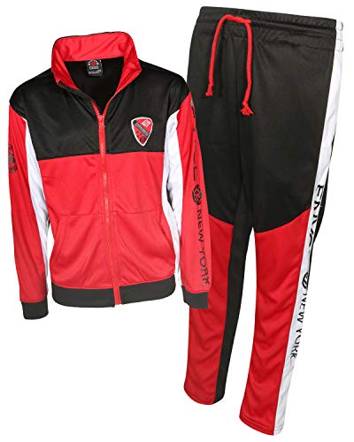 Enyce Boys Activewear 2 Piece Performance Tracksuit Set with Long Sleeve Top and Pants, Black/Red/White, Size 12/14'