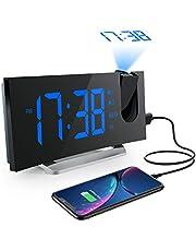 Mpow Reveil Projecteur, Radio Réveil Projection Plafond, Afficheur LED de 5 Pouces, Téléphone de Charge USB, 2 Modes d'Alarme et 4 Sons D'Alarme, 6 Niveaux de Luminosité de l'écran, Snooze (Bleu)
