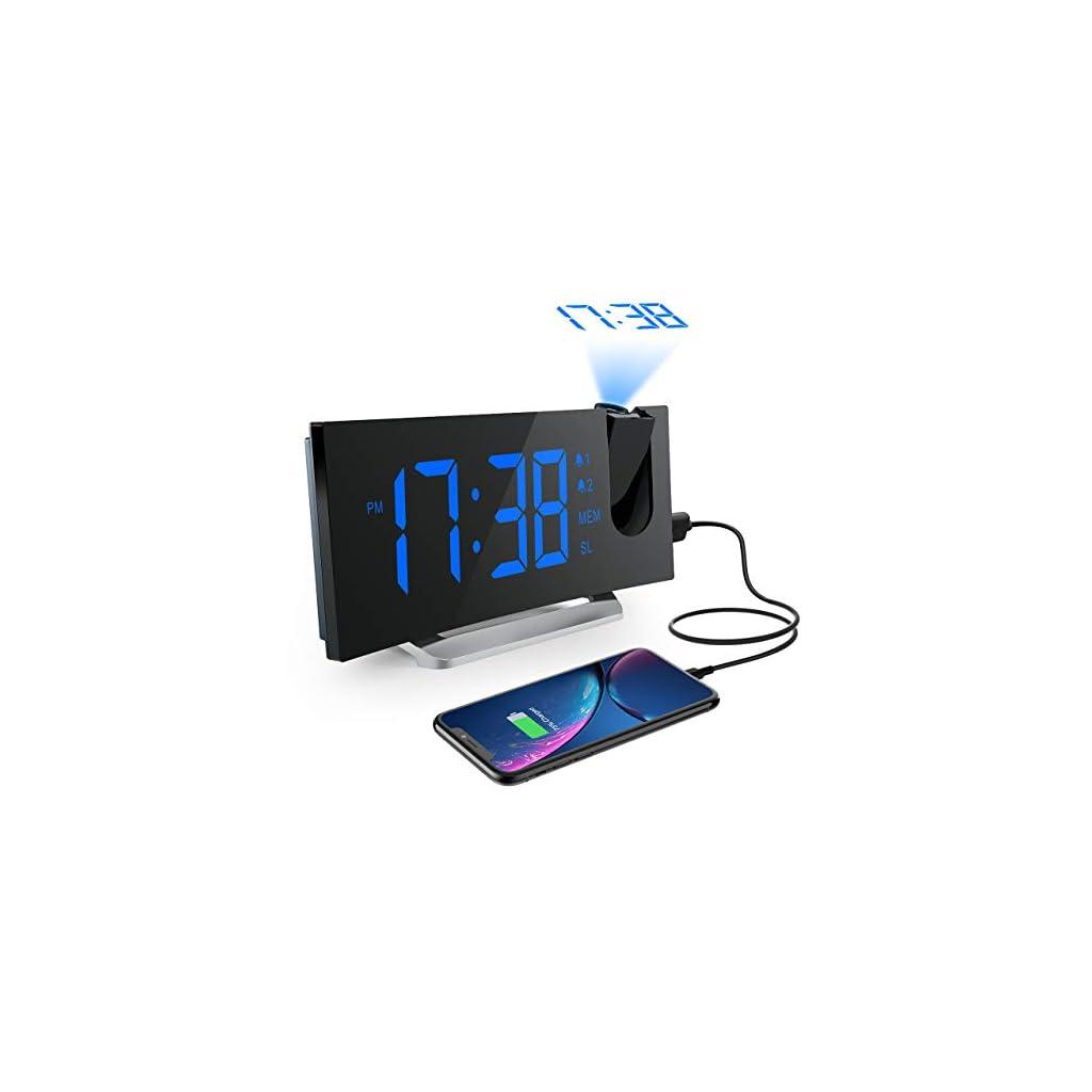 Mpow-Radio-Despertador-Digital-Proyector-FM-Radio-Reloj-Despertador-con-Proyector-Digital-de-Alarma-Dual-con-4-Sonidos-3-Tonos-5-Brillos-Ajustables-Pantalla-LED-5-Puerto-USB-1224-horas-Snooze ES