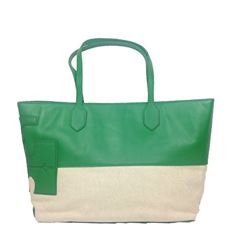 Tory Burch Stacked Two Tone East West Tote in Emerald City Green & - Burch And Tori