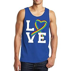 LOVE Rainbow Ribbon Men's Tank Top, SpiritForged Apparel, Royal Small