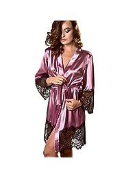 BOLUOYI Women Sexy Silk Kimono Dressing Babydoll Lace Lingerie Bath Robe Nightwear