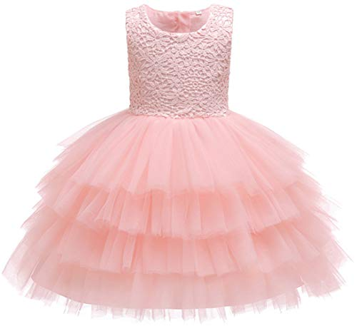 Baby Girl Dresses Crochet Lace Ruffles Pageant Wedding Party Flower Girl Pink Dresses 6-9 months