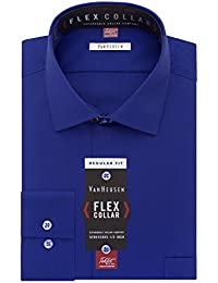 Men's Flex Collar Regular Fit Solid Spread Collar Dress Shirt