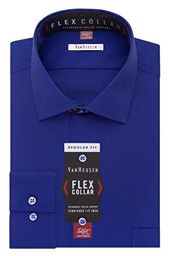 Van Heusen Men's Flex Collar Regular Fit Solid Spread Collar Dress Shirt, Royal Blue, 16.5