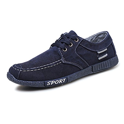Canvas Casual Shoes,Gracosy Men's Classic Style Breathable Lace up Canvas shoes Low Top Sneakers Sport Runner Skate Shoes Blue 10 D(M) US
