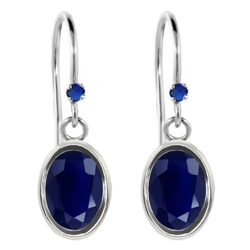 2.06 Ct Oval Blue Sapphire Blue Simulated Sapphire 925 Sterling Silver Earrings
