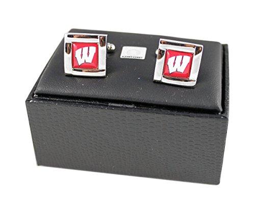 Aminco International NCAA Wisconsin Badgers Team Logo Square Cufflinks Gift Box Set