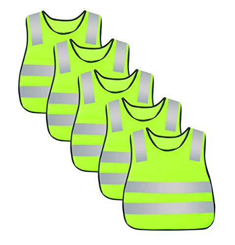 Kids Safety Vest Reflective High Visibility Vest Breathable Traffic Vest Costume Construction Vest Elastic Strap Safety Vest Neon Yellow Purpose for Running Cycling Jogging 5PCS -
