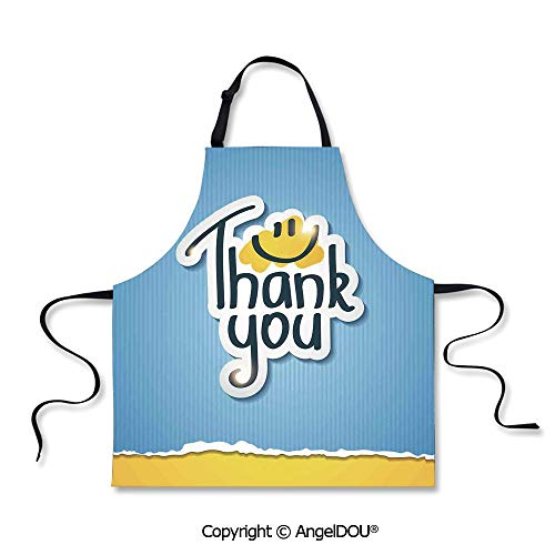 SCOXIXI Kitchen Bib Apron with Adjustable Neck Blue Striped Typographic Thanksgiving Torn Paper Look for Grill BBQ Cooking Cosplay Party.
