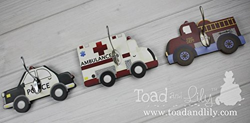 Boy Peg (Set of 3 Rescue Vehicles Heros Firetruck Police Transportation Boys Clothes Peg Rack Hat Holder Kids Bedroom 3WH003)