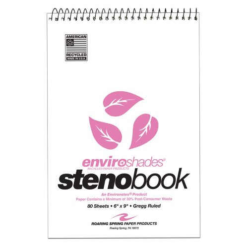 Roaring Spring Paper Products Paper Products Enviroshades Steno Books, Pink, 4 per Pack (12254)