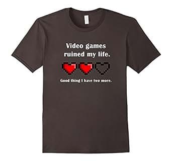 Men's Video games ruined my life t-shirt gamer shirt 3XL Asphalt