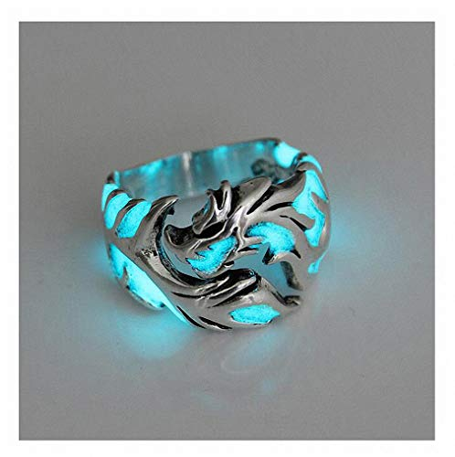 Womens Mens Ring 1Pc Women and Men Allergy Free Glow in The Dark Luminous Dragon Ring Party Gifts Silver Blue Green 10 -