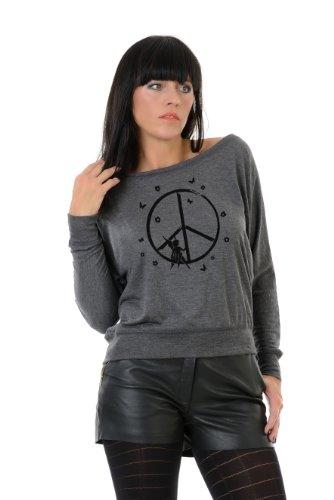 camiseta manga larga / T-Shirt mujer estampa - elfo de la paz - 3Elfen gris negro