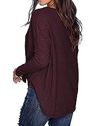 Camisas lisas para mujer con diseño de waffle, de punto túnica