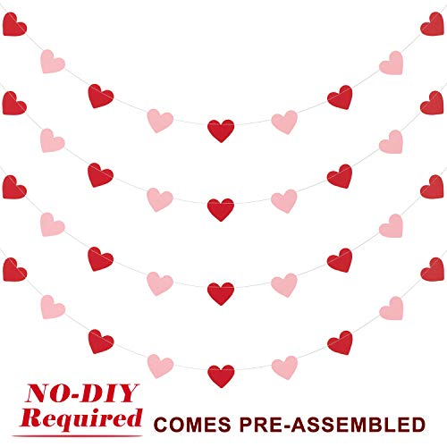 (Whaline 40 Feet Heart Garland Valentine's Day Bunting Banners String for Wedding, Party, Bridal Shower, Engagement, Home Decorations, Pack of 4)