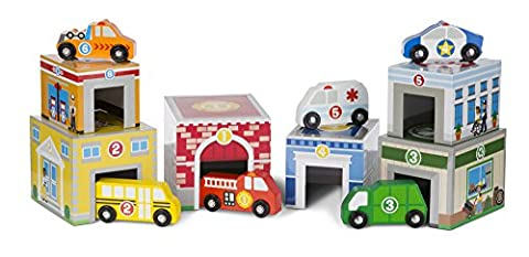 Melissa & Doug Nesting and Sorting Blocks 6 Buildings 6 Wooden Vehicles - Doug Fire Truck