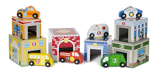 Melissa & Doug Nesting and Sorting Blocks 6 Buildings 6 Wooden Vehicles