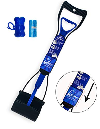 OSPet Foldable Long-Handle Pooper Scooper for Dogs Cats Pets with Anti-Leak Blue Bags - Perfect for Picking up Poo Shit Without Smelling and Tuching