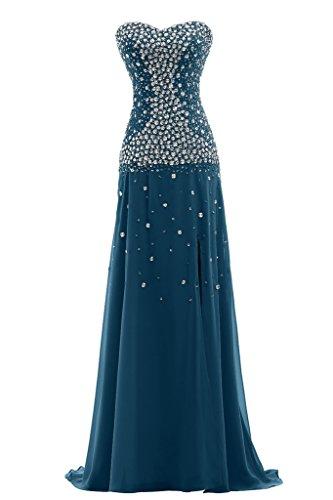 Ivydressing Herz Tintenblau Chiffon Festkleid Promkleid Lang Scheind Damen Abendkleid Ausschnitt 4xqSgx