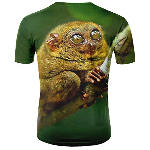 Outique 3D Mens Graphic Tshirts,Summer Printed Short Sleeves Fashion Comfort Blouse Top Funny Sleeve Tee Tops Green ()