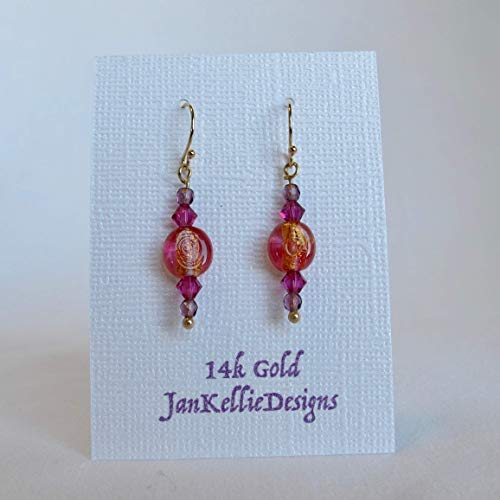 Bright and Beautiful - Solid 14k gold with Fuchsia, Violet and Tangerine Swarovski glass Crystal Drop and Dangle Earrings. (Crystal Glass Violet)
