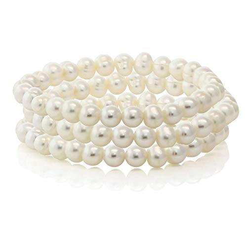 (Set of 3 Stretch Bracelets White Freshwater Cultured Off-Shape Pearls Adjustable Fit)