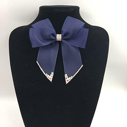 Black Satin lace Ribbon Bow Tie Brooch Pin Shirt Tie Jabot Collar Neck Tie Cravat (Butterfly-Dark (Dark Topaz Rhinestone)