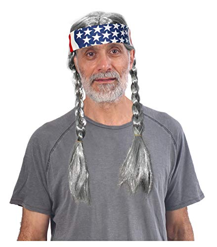 Grey Hippie Wig with American Flag Bandana
