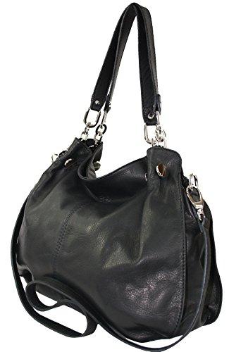 019006e1333b0 ... Sa-Lucca echt Leder Handtasche Damentasche Shopper Tasche Ledertasche  225-s schwarz MADE IN ...