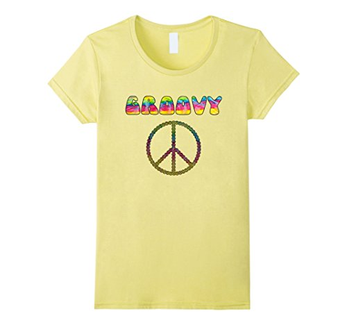 Womens Vintage Retro 1970s Tie Dye Groovy Peace Sign T-Shirt Small Lemon (1970s Clothing For Women)