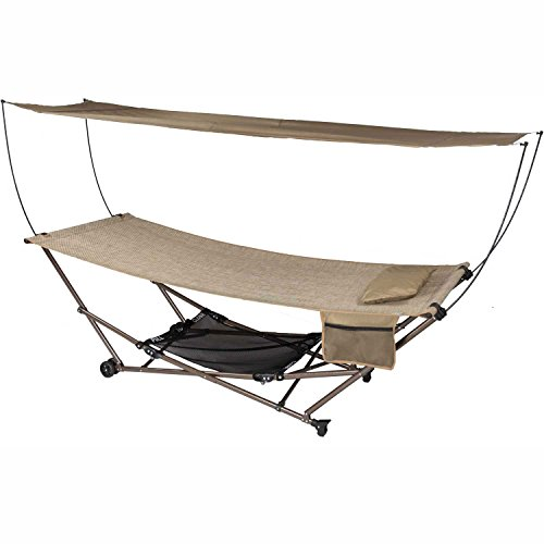 Bliss Hammocks Q-806Ar STOW-EZ Portable Hammock & 4 Point Stand with Canopy, Sand