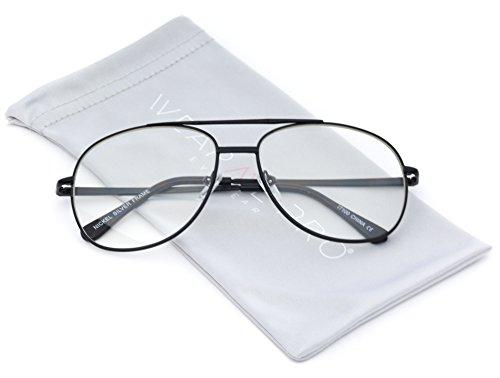 WearMe Pro - Metal Frame Gold Silver Clear Aviator - Trendy Glasses Fake