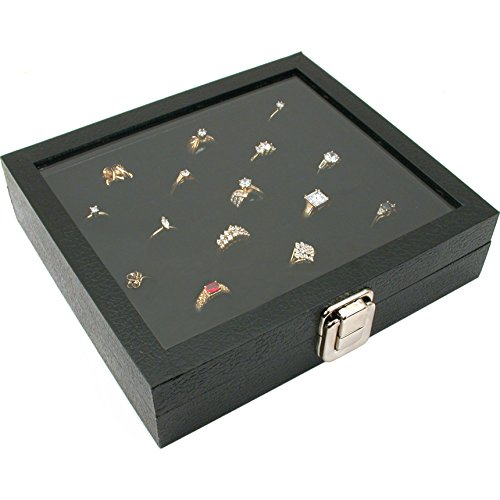 Glass Top Display Case 36 Slot Ring Insert Liner New, Storage Jewelry Box Holder (Top Box Ring Glass)