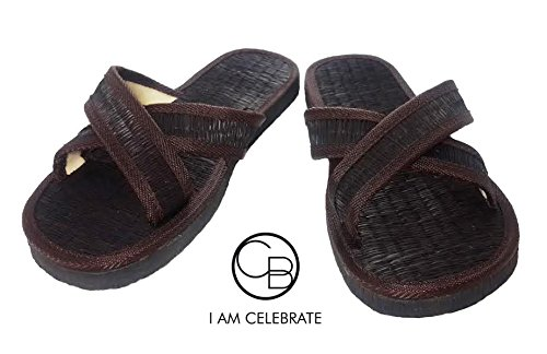 1 pair Brown / Slippers home from natural materials - A classic tone Premium goods from the country of Thailand Sewing by (Mens Sheepskin Pug Boots)