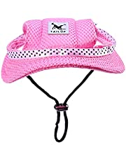 Scicalife Pet Sun Hat Pet Shade Hat Cat Dog Sun Hat Princess Hat Pet Dog Mesh Porous Sun Cap Adjustable Cloth Hat Hat with Ear Holes for Small Dogs- Size S (Pink)