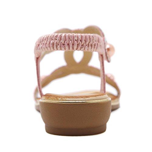Bohémiennes D'Été Rose pour Appartements Sweet Apartment YE Sandal Pantoufles mode femmes Chaussures à la Pearl qf6wPT