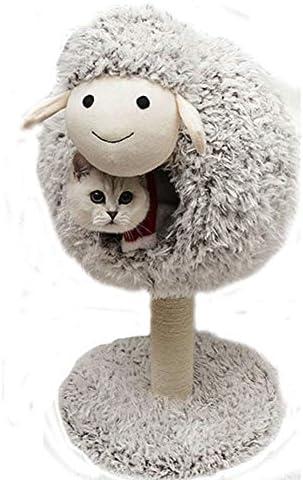 猫登山活動ツリー、サイザルとぬいぐるみを使用して羊形の夏の猫登山フレーム猫のベッド猫の塔猫のおもちゃ、傷に強い、非毒性,M