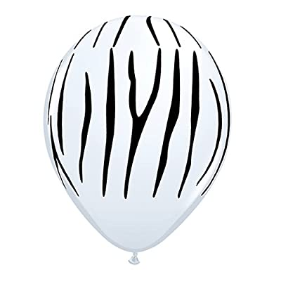 Zebra Stripes Black White 11' Latex Jungle Animal Zoo Safari Birthday Party (10 Count): Toys & Games