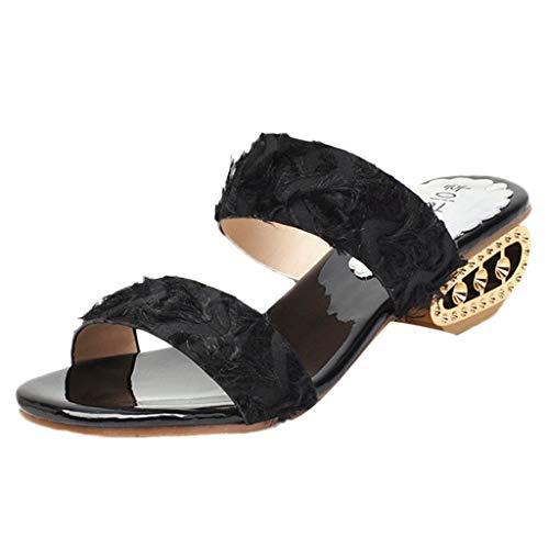 Hyper Strap Rubber (Women Beach Sandals, JOYFEEL ❤️ Ladies Leisure Peep Toe Slip-On Flip Flop Low-Heel Breathable Comfy Summer Slippers Black)