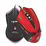 NOMSOCR Wired Gaming Mouse 3200 DPI 4 Adjustable DPI Levels 1200/1600/2400/3200 Computer Mice Wired Mouse Desktop Laptop PC Gaming Mouse with Led Light & 6 Buttons for Windows Computer (Red)