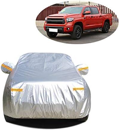 車のカバー 互換性のあるトヨタタンドラ防水カーカバーオールウェザー全エクステリア屋外防雨モバイルガレージ車のエクステリア保護シールドカバーカバー (Color : Silver Oxford)