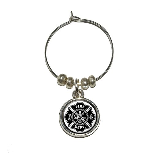Graphics and More Firefighter Firemen Maltese Cross - Black Wine Glass Charm Drink Stem Marker Ring