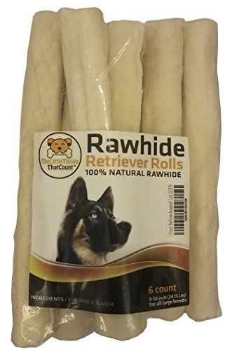 9-10 Inch Natural Rawhide Bones/Sticks/Rolls for Large Breeds/Dogs - 6pcs