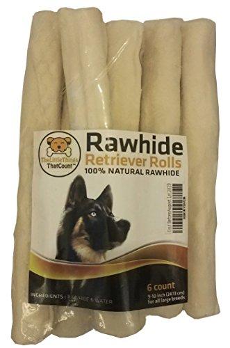 9-10 Inch Natural Rawhide Bones/Sticks/Rolls for Large Breeds/Dogs - 6pcs