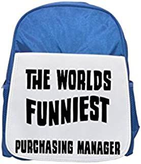 THE WORLD'S FUNNIEST Purchasing Manager printed kid's blue backpack, Cute backpacks, cute small backpacks, cute black backpack, cool black backpack, fashion backpacks, large fashion backpacks, black f
