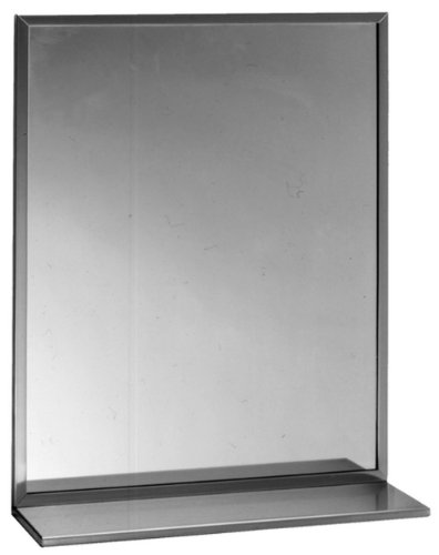 Bobrick 166 Series 430 Stainless Steel Channel Frame Glass Mirror with Shelf, - Mirrors Commercial Shelf Bathroom With