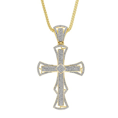 1.32ct Diamond Cross Religious Mens Hip Hop Pendant Necklace in Yellow Gold Over 925 Silver (I-J, I1-I2) by Isha Luxe-Hip Hop Bling
