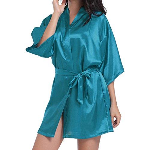 Spa signore Donna Fashio Robe Party sul raso Bridal Sposa da Robes in Breve Indietro Lettera Blue Sleepwear Kimono Peacook le Robe per Fangcheng sposa Tf1qww